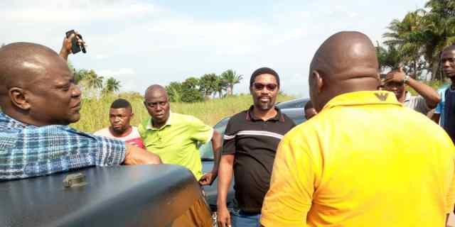 Hon Ferguson Onwo (left) on an Inspection Tour of Oleh-Irri-Aviara road rehabilitation project