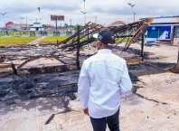Governor Okowa Inspects Torched Recreational Center at Koka junction, Asaba Destroyed by Hoodlums during the EndSARS Protest