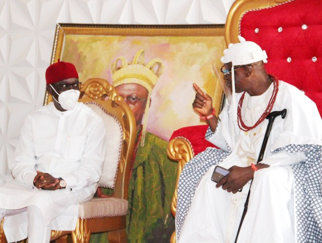 Delta Governor, Senator Dr. Ifeanyi Okowa (left) and His Royal Majesty, Obi Charles Chukwunwike Anyasi III, the Obi of Idumuje-Unor Kingdom, during the Thanksgiving Service/Grand Reception by Idumuje-Unor Kingdom, in honor of Justice Oseji on his Elevation as Justice of the Supreme Court of Nigeria on Monday, December 28, 2020. PIX: JIBUNOR SAMUEL.
