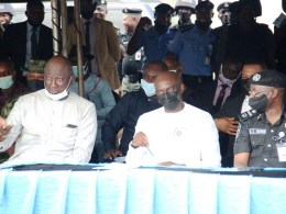 Representative of Delta Governor, and SSG, Mr. Chiedu Ebie (middle); the outing Commissioner of Police, Delta State, AIG Hafiz Inuwa (right), DIG Sotonye Wakama (RTD), (left), during the Official Flag Off of Community Policing Sensitization and Awareness Campaign at the Event Centre, Asaba. Wednesday, January 13, 2021 (PIX: JIBUNOR SAMUEL)