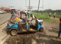 Tricycle Accident along PTI Expressway in Effurun, Uvwie LGA of Delta State on Wednesday, January 20, 2021