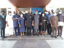 Members of House of Representatives, Delta State Caucus with Principal Officers of the Delta State House of Assembly during a Condolence Visit on the Demise of of Hon. Tim Owhefere on Thursday, February 4, 2021