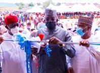 (L-R) Delta Governor, Senator Ifeanyi Okowa; Sokoto State Governor, Rt. Hon. Aminu Tambuwal and Zamfara State Governor, Hon. Bello Matawalle at a recent Commissioning in Delta State
