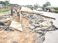 Failed section of Umeh Road in Isoko South Local Government Area