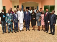 Attorney General and Commissioner for Justice, Delta State, Peter Mrakpor SAN flanked by Journalists of the Indigenous Corespondents' Chapel, NUJ Delta State after a courtesy visit on Friday, May 7, 2021