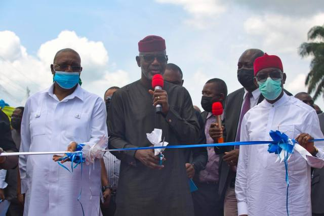 From Right: Delta Governor, Senator Dr. Ifeanyi Okowa; former Governor of Cross River State, Senator Liyel Imoke; Delta Deputy Governor, Deacon Kingsley Otuaro during the inauguration of Alihame/Agbor-Nta/Oki road in Ika South LGA of Delta on Wednesday, June 30, 2021