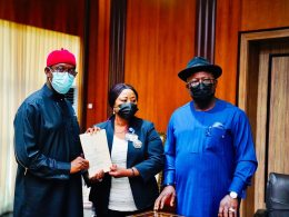Delta Governor, Senator Ifeanyi Okowa Signs Anti-Open Grazing Bill into Law, flanked by Delta Assembly Speaker, Sheriff Oborevwori and House Clerk, Barr Lyna Ocholor