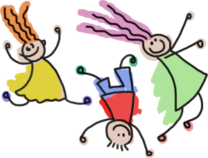 Playful Stick Figure Kids