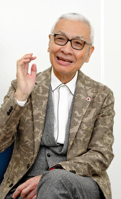 インタビューに答える久米宏さん=広島市中区、大滝哲彰撮影