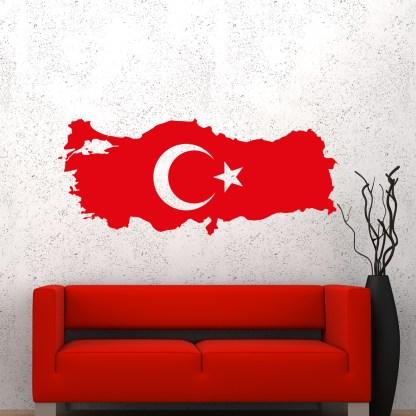 Wandtattoo Türkiye Haritasi ve ay yildiz