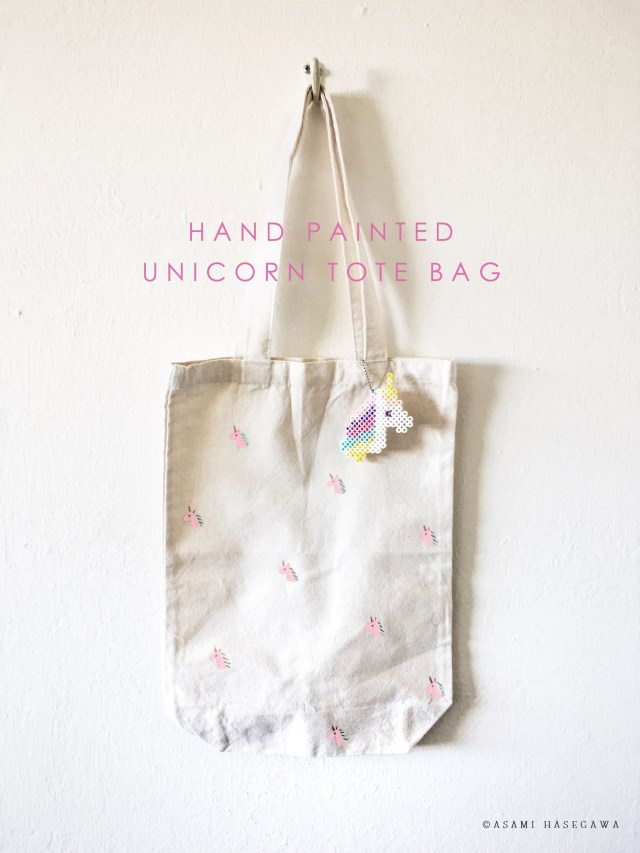 Hand Painted Unicorn Tote Bag
