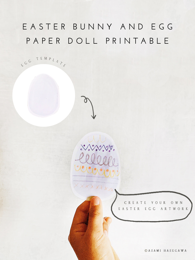 Free Easter Bunny and Egg Paper Doll Printable