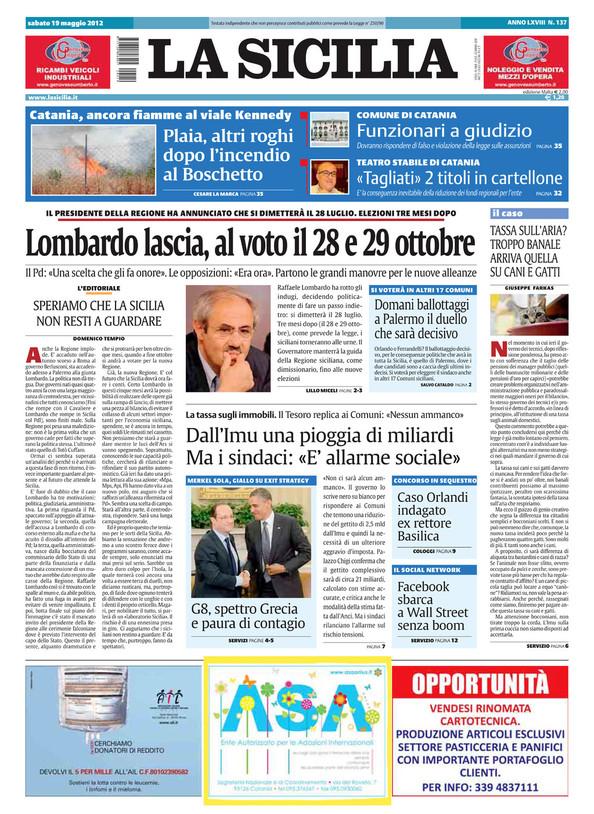 La Sicilia - sabato 19 maggio 2012