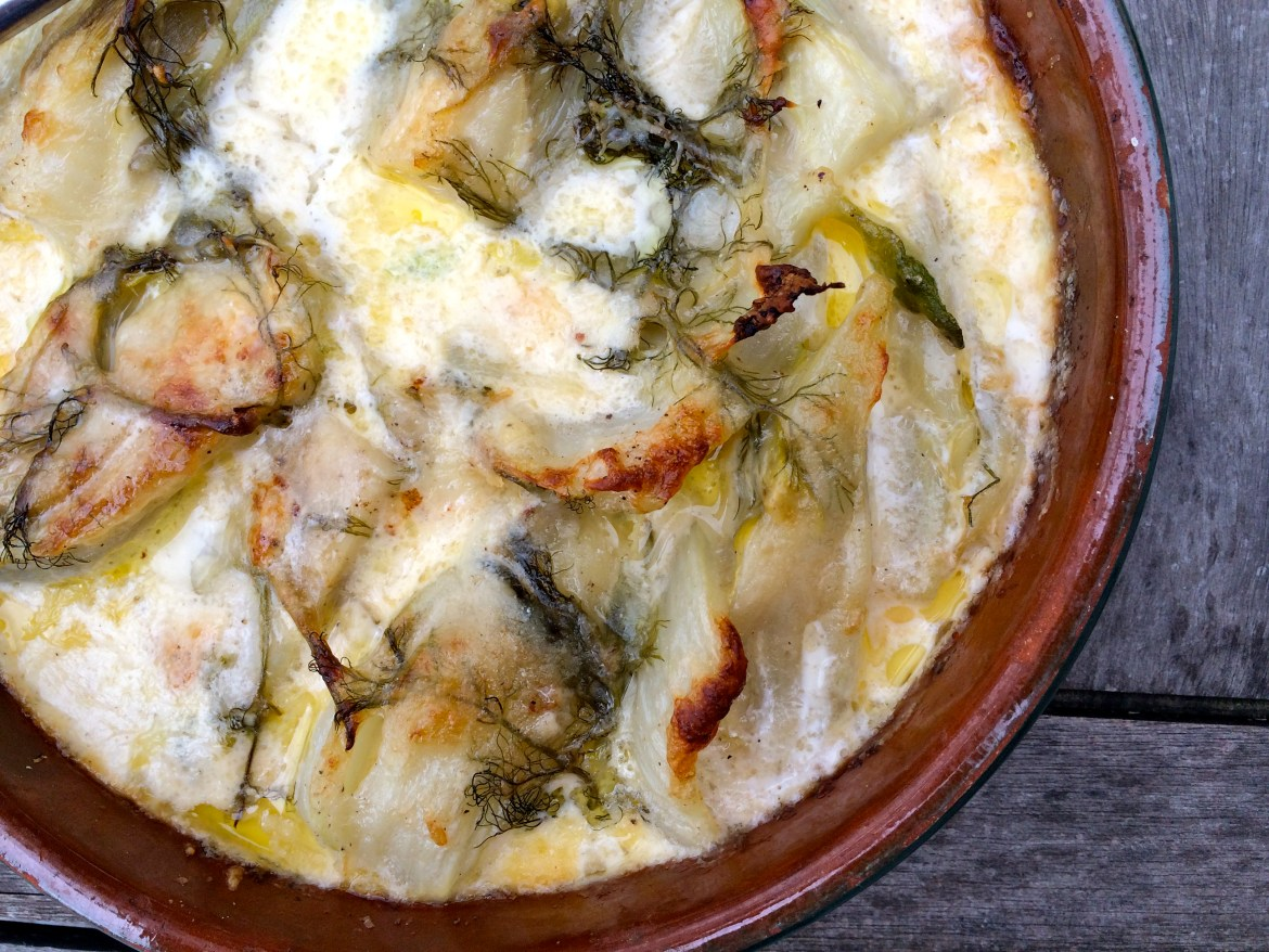 Close up of Diana Henry's fennel and gruyère gratin