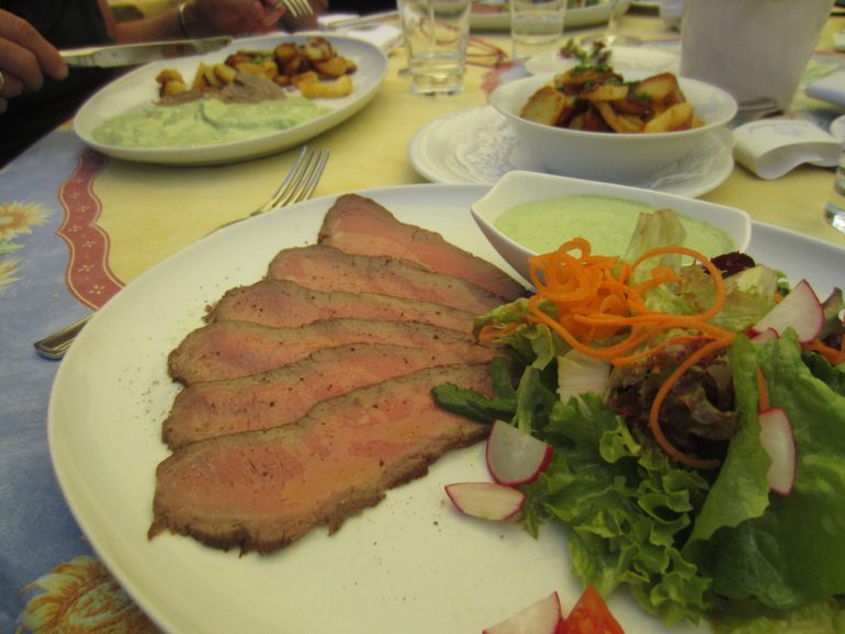 German cold roast beef with fresh green sauce