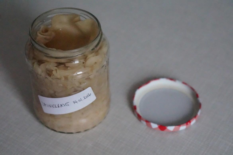 An open jar of homemade Sauerkraut