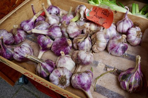 Fresh garlic bulbs in a wooden tray