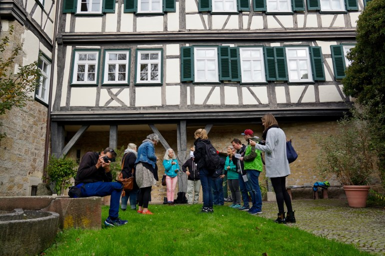 Group of bloggers standing in the courtyard of Martinskirche Sindelfingen