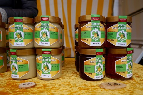 Jars of German honey stacked on top of each other