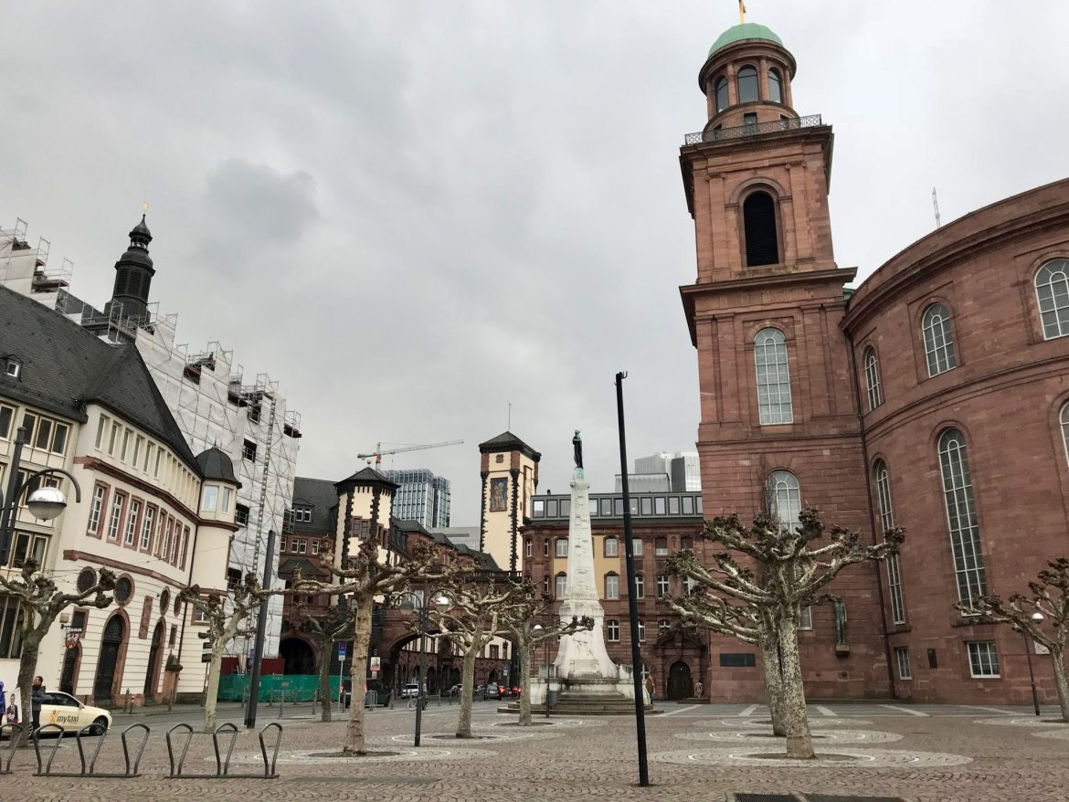 A view of old and modern buildings in Frankfurt