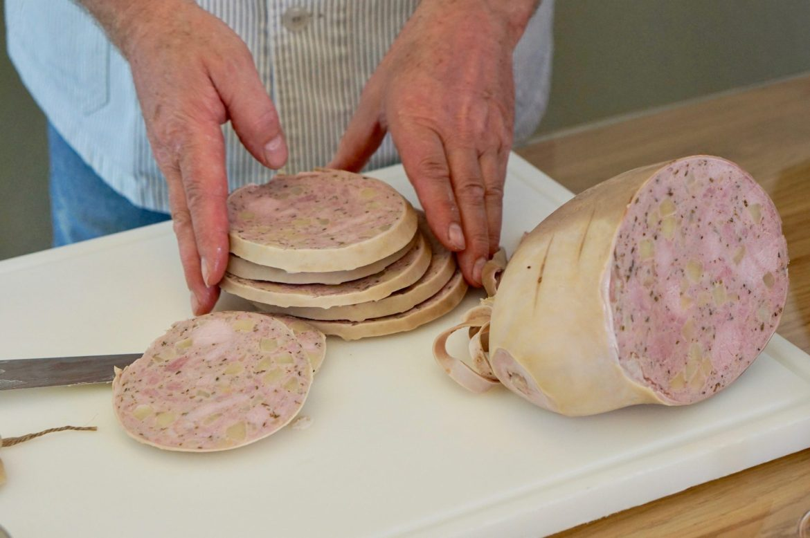 Slices of Saumagen, unpeeled and stacked