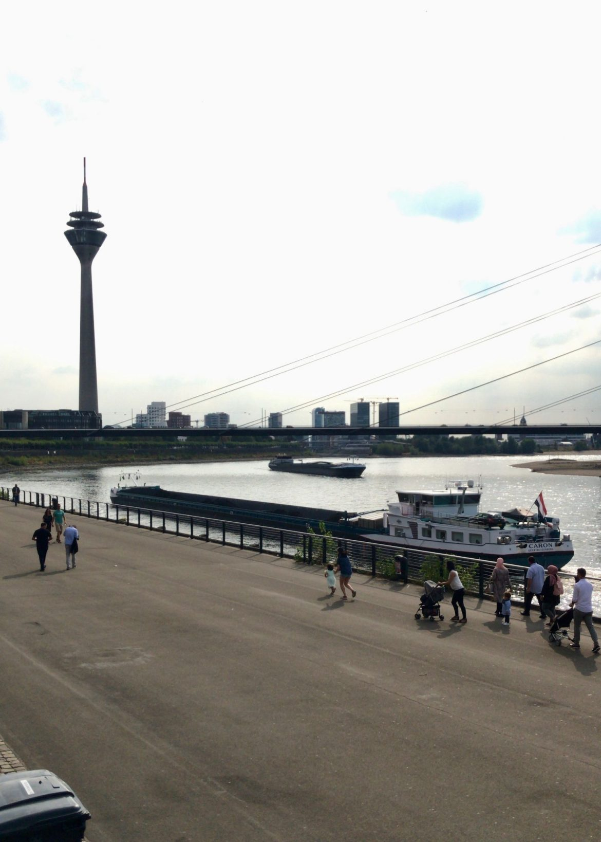 River view of the Rheinturm, Düsseldorf