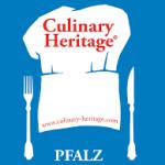 Culinary Pfalz logo, white chef's hat on a blue background