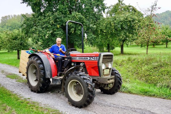 A man in a blue shirt eating an apple whilst sitting on a red tractor