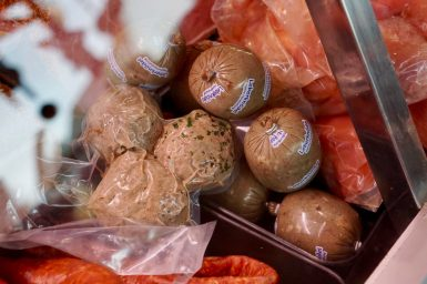 Packaged Leberknödel in a butcher's counter