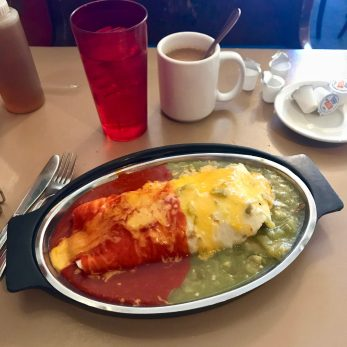 Breakfast burrito, Christmas-style (with red and green chile) at Tia Sophia's, the restaurant that invented it