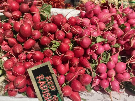 Bunches of radishes at Santa Fe farmers' market