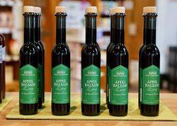 Rows of bottles of apple balsamic vinegar at Domäne Mechildshausen