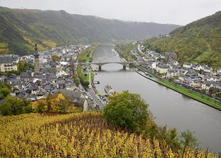 View of the river Mosel and vineyards from Cochem Castle on a grey day