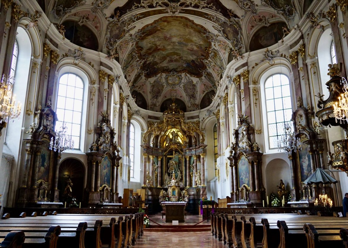 The rococo interior of the Augustinerkirche in Mainz
