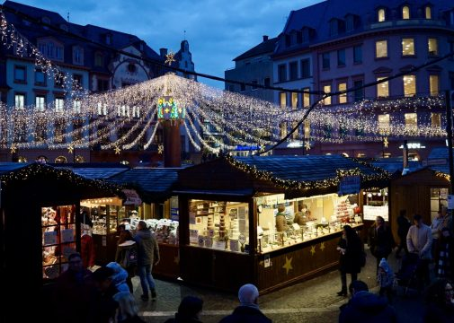 View of Mainz Christmas market during blue hour