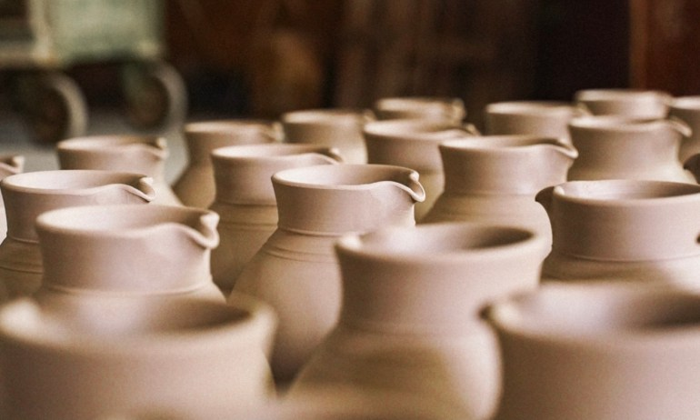 Apfelwein Bembels waiting to be fired and glazed