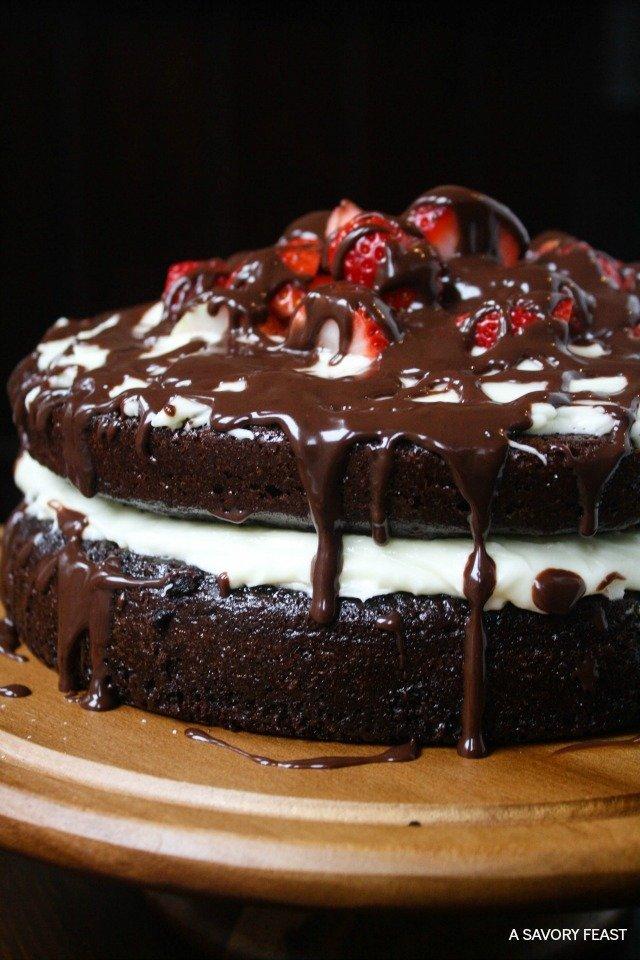 A Savoury Feast's Strawberry Chocolate Ganache Layer Cake