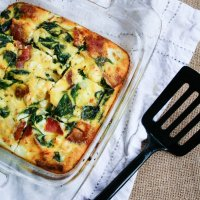 Spinach, Bacon and Feta Egg Bake