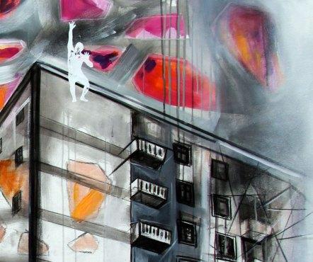 TRAMONTO IN CITTÀ - Mix on canvas - Detail - (Ascanio Cuba)
