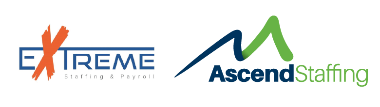 Extreme Staffing logo next to Ascend Staffing logo