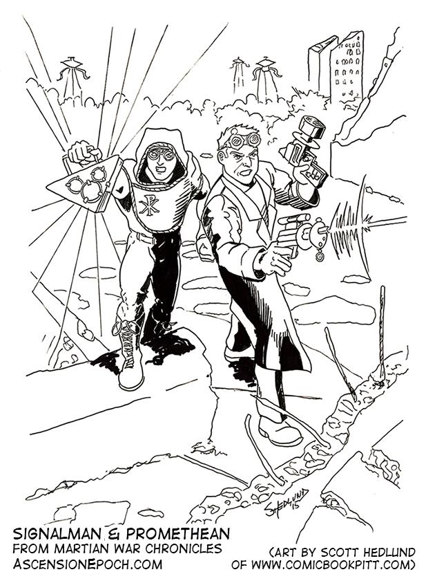 Signalman and the Promethean battle Martian tripods, by Scott Hedlund