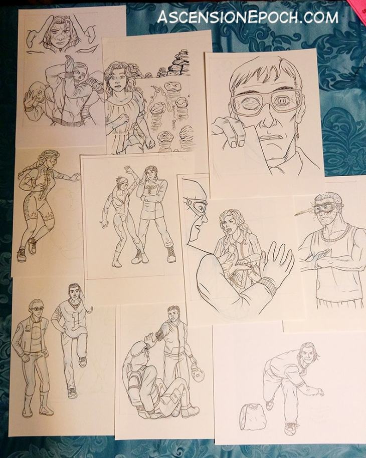Preview of interior illustrations from The Dismal Tide, a YA superhero novel