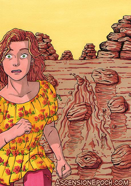 Evangeline encounters a Djinn. Art bu Shell Presto