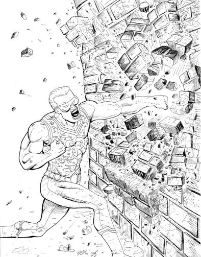 An enraged, super-powered man (Atomic Ranger) punches through a brick wall.