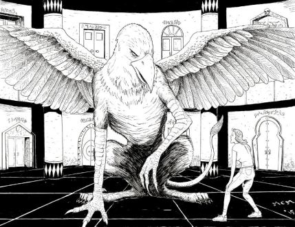 A startled woman (Chemista) encounters a gigantic griffon (Peck) in the center of a chamber of ornate doorways with strange writing.