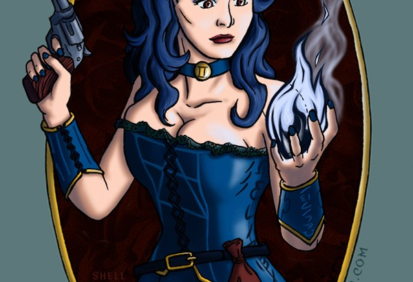 A drawing of Hecate, a beautiful woman with black hair in a corset, holding a revolver in one hand and a magical flame in the other.