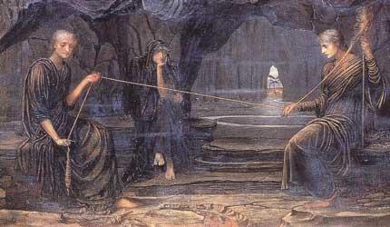 The Three Moirae, part of A Golden Thread, John Strudwick, 1885