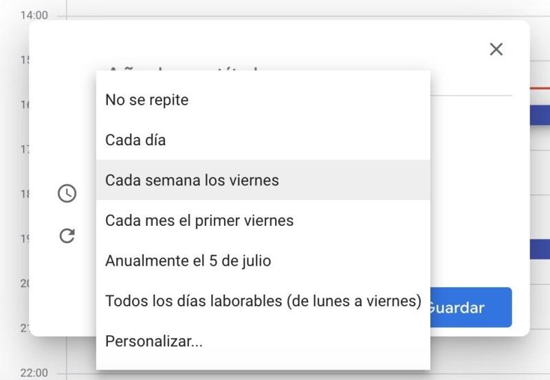 Recordatorios y repeticiones. Google Calendar.