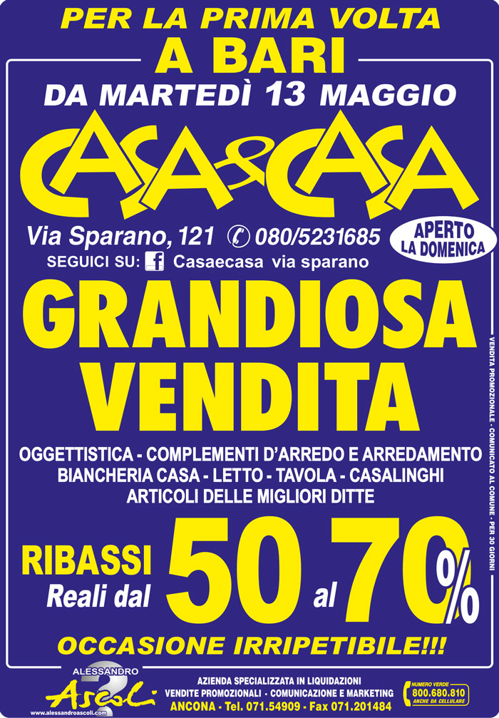 Organizzazione Vendita Promozionale Casacasaa Bari