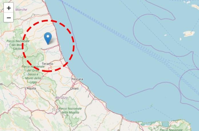 L'epicentro della scossa registrata poco fa in provincia di Ascoli